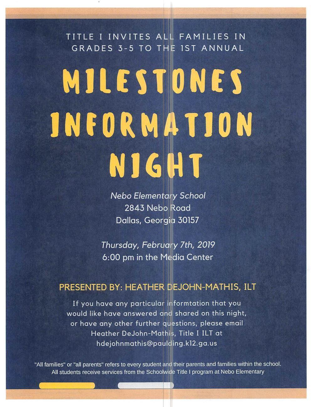 Title I Academic Night: Milestones Information Night