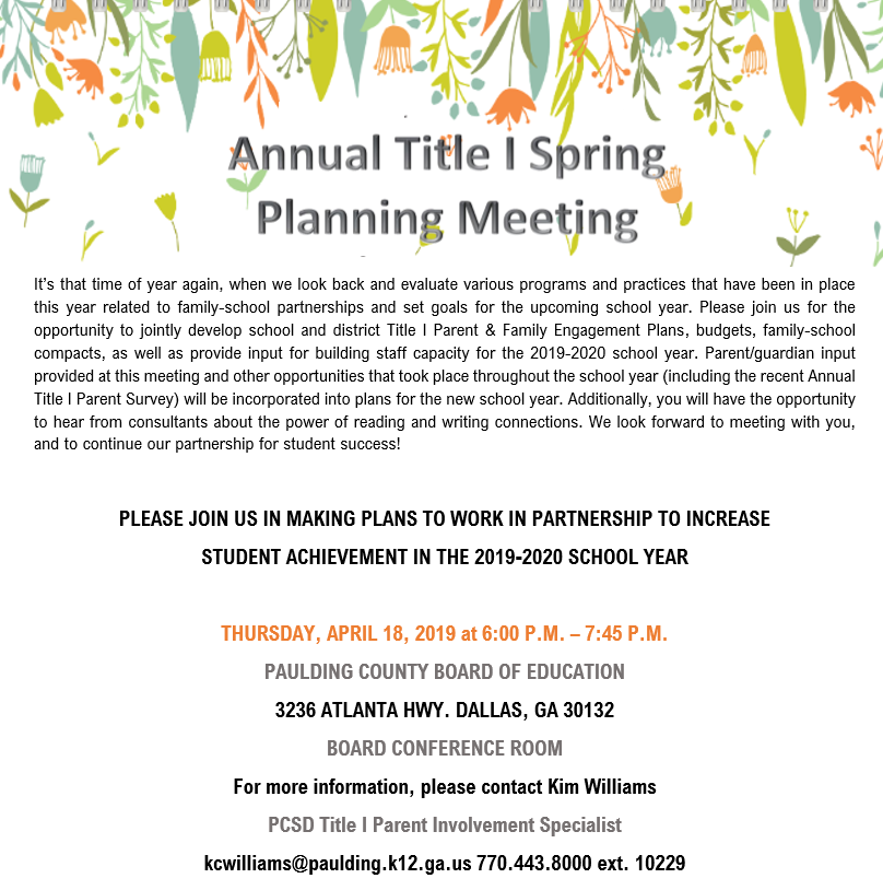 PCSD Annual Title I Spring Planning Meeting