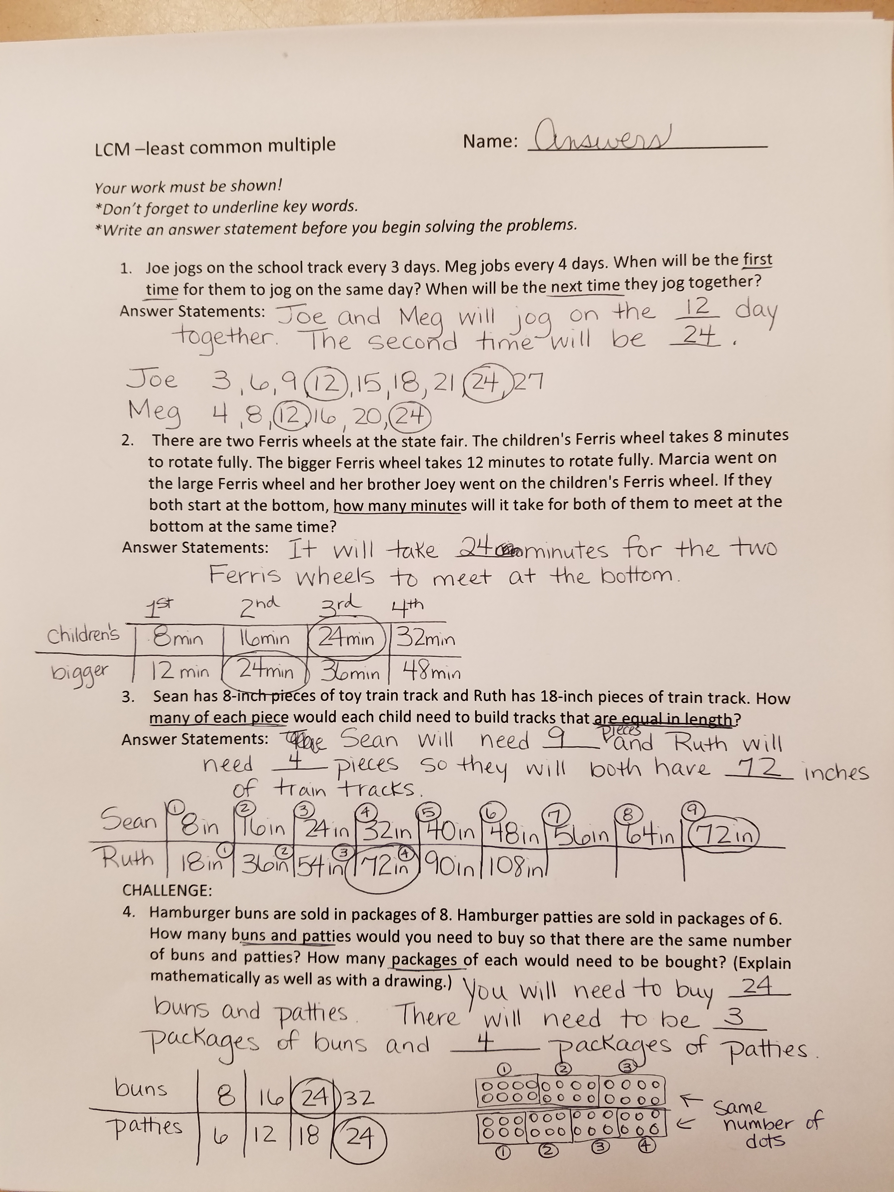 Mon 8/8 - Word problems with LCM LCM Student Sheet, ...