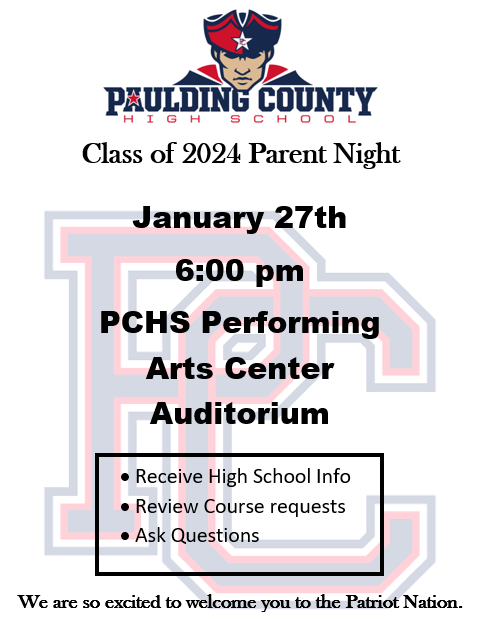 PCHS Class of 2024 Parent Night