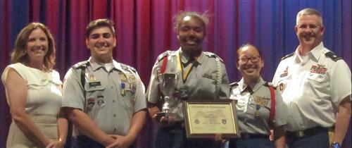 Congratulations to Cadet Destiny McCoy (center) as the JROTC Patriot Battalion Cadet of the Year for School Year 2018-2019
