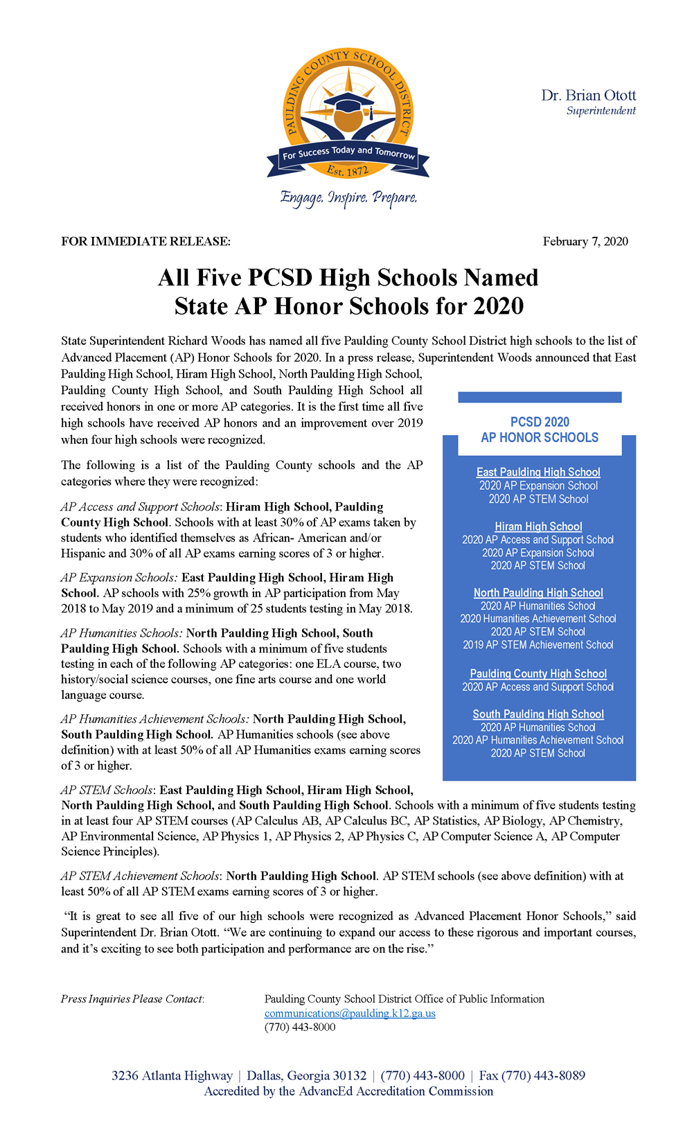All Five PCSD High Schools Named AP Honor Schools
