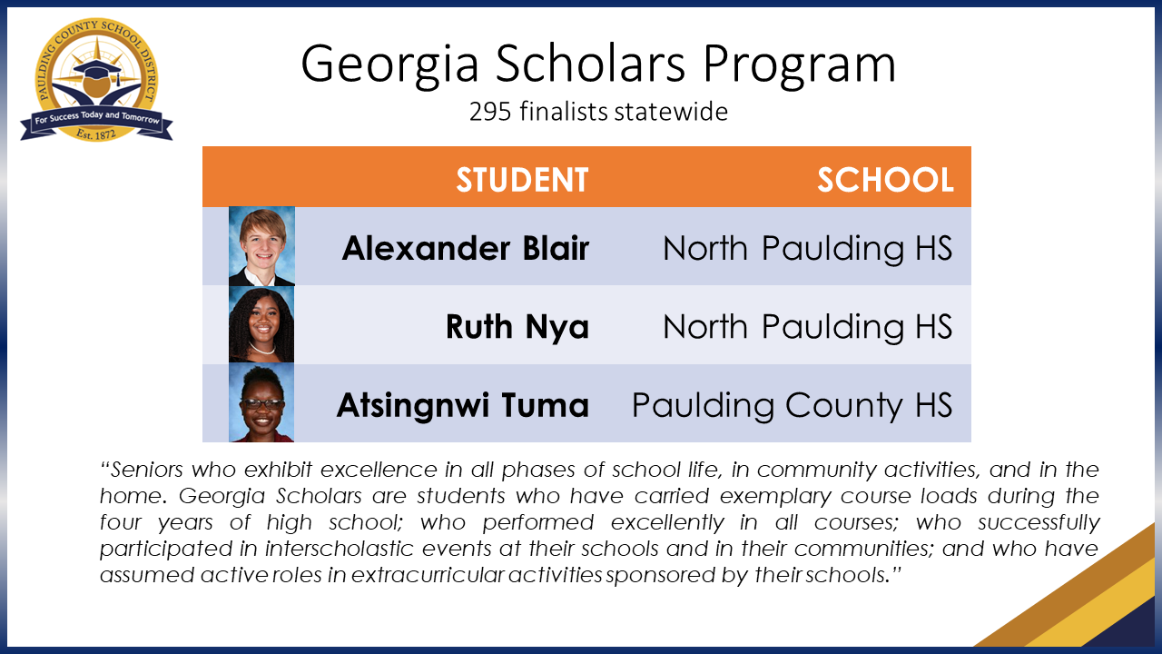 Three PCSD Seniors Named Georgia Scholars