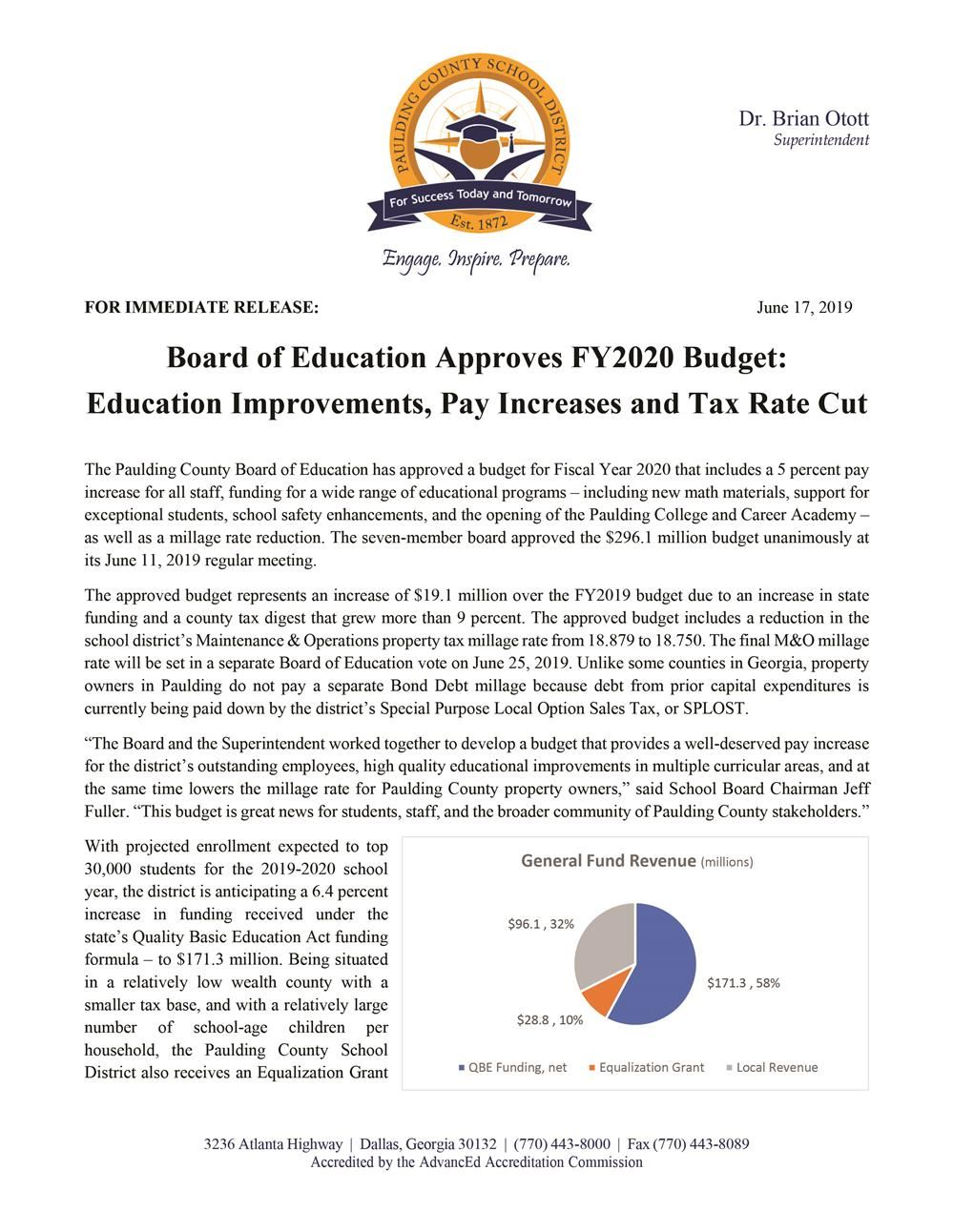 School Board Approves FY2020 Budget
