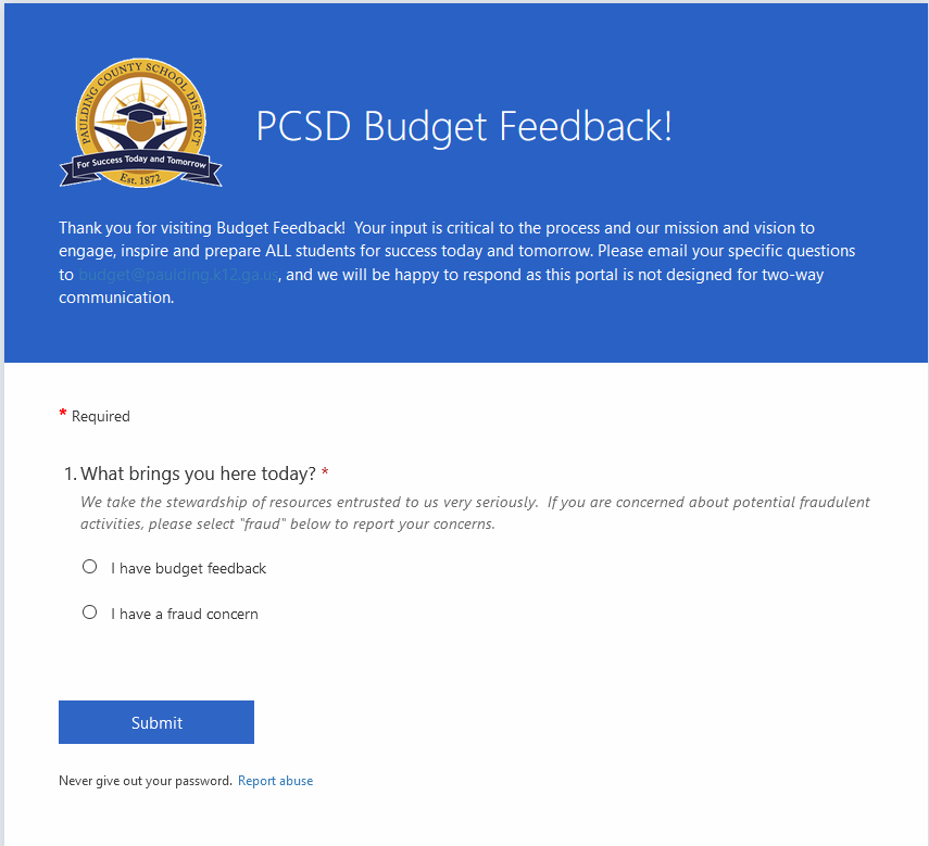 District Seeks Budget Feedback