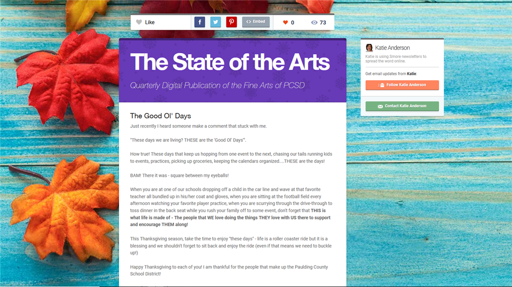 State of the Arts Newsletter - Fall Edition