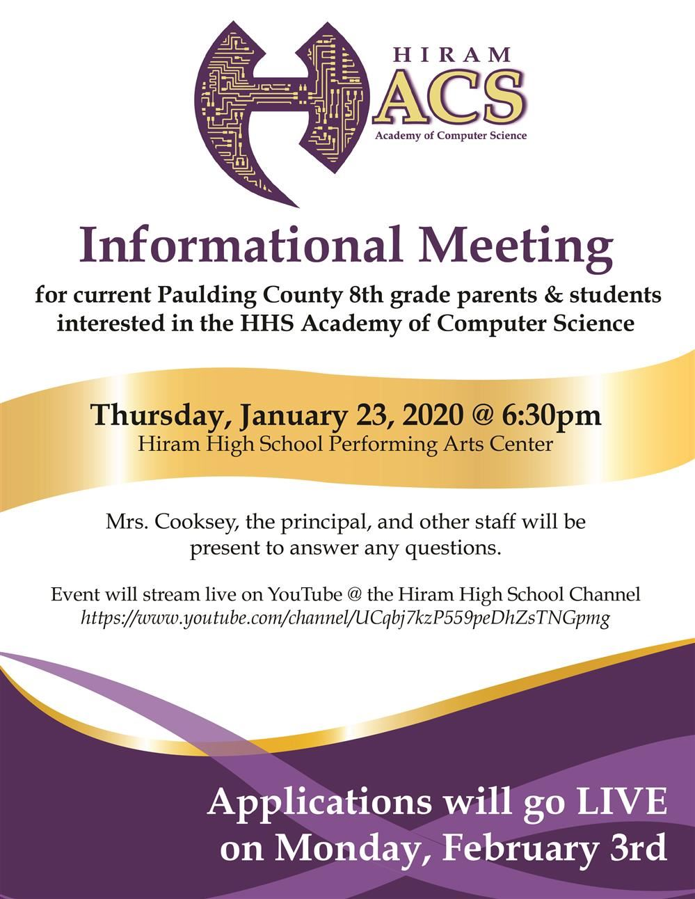 HHS Acad. of Computer Science Meeting Jan. 23