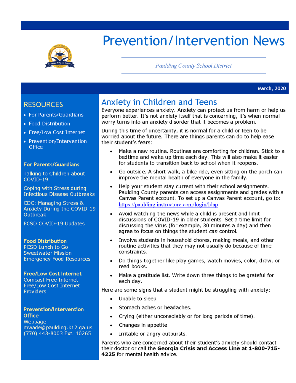 March 2020 Prevention Intervention Newsletter