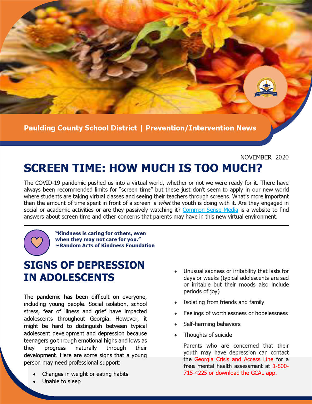 Nov. 2020 Prevention Intervention Newsletter