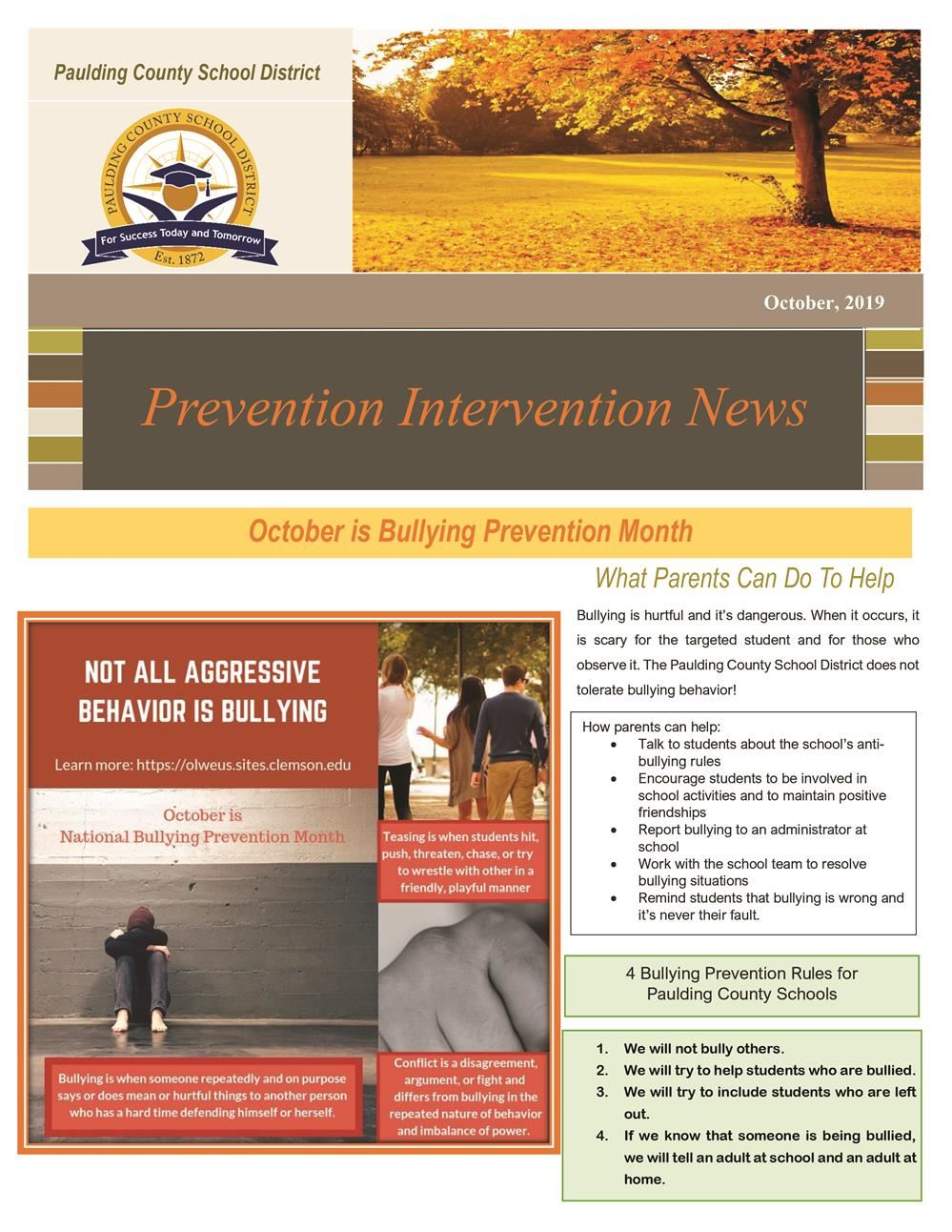 Prevention Intervention October 2019 Newsletter
