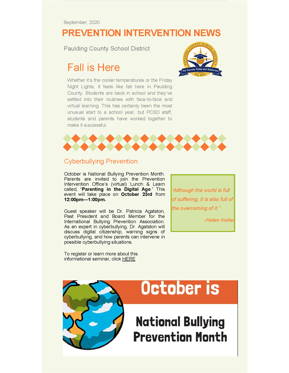 September 2020 Prevention Intervention Newsletter