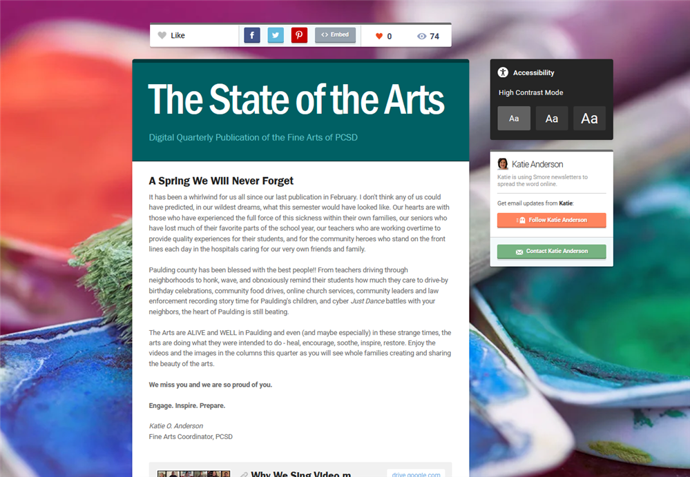 May 2020 State of the Arts Newsletter