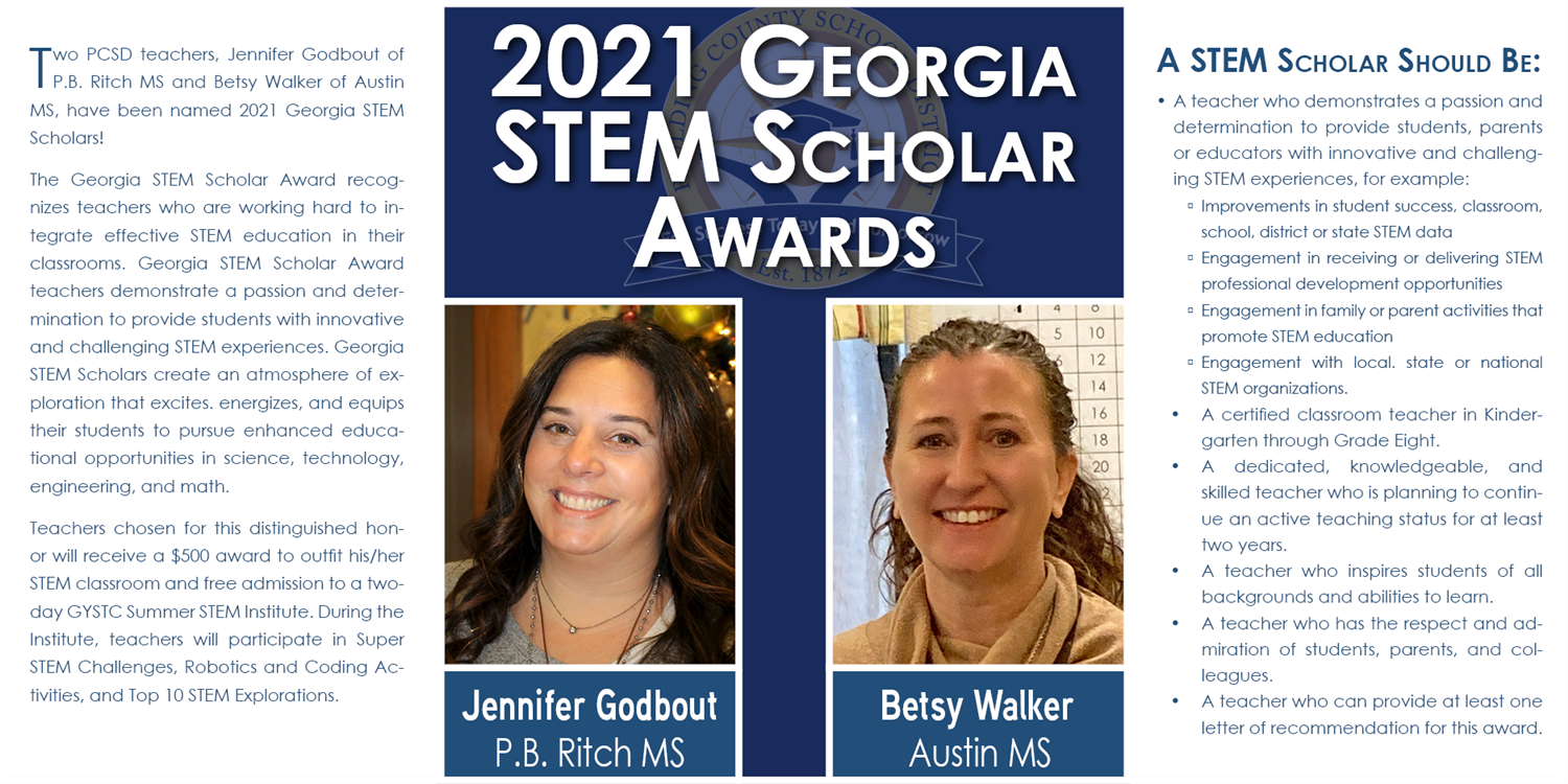Two PCSD Teachers Named GA STEM Scholars