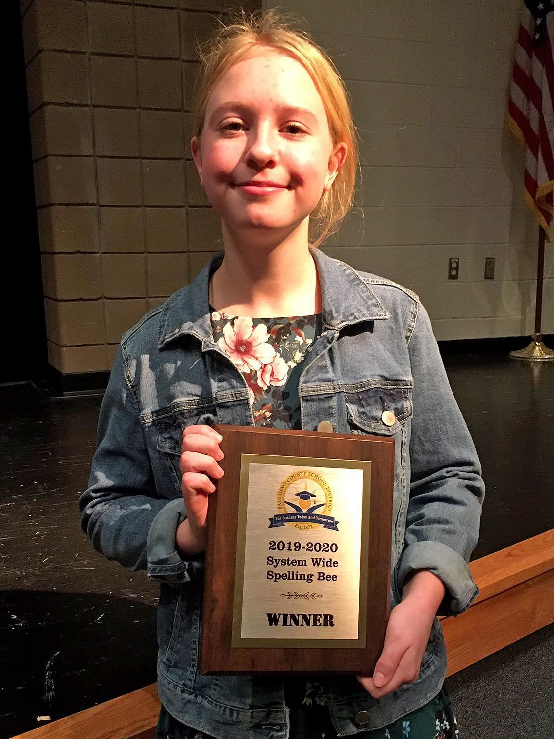 Kaitlyn Lydick Wins System Wide Spelling Bee!