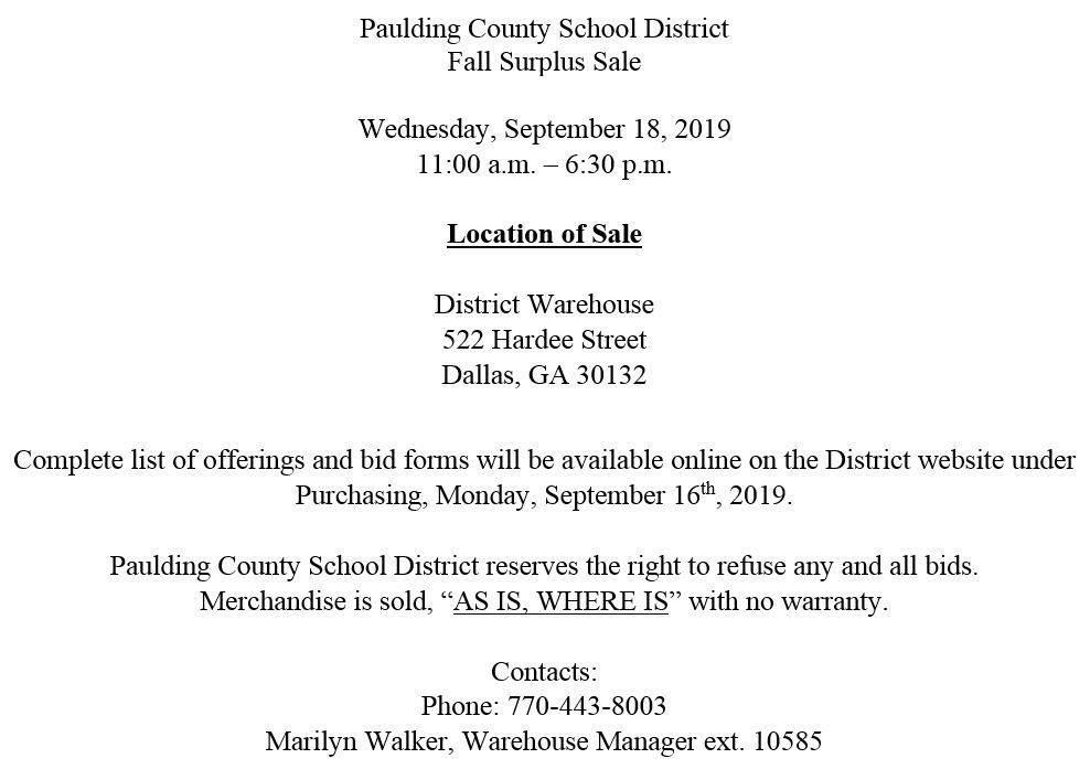 PCSD Fall Surplus Sale Sept. 18