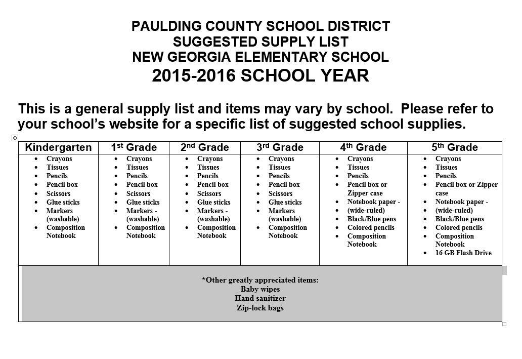 2015-2016 School Supply List
