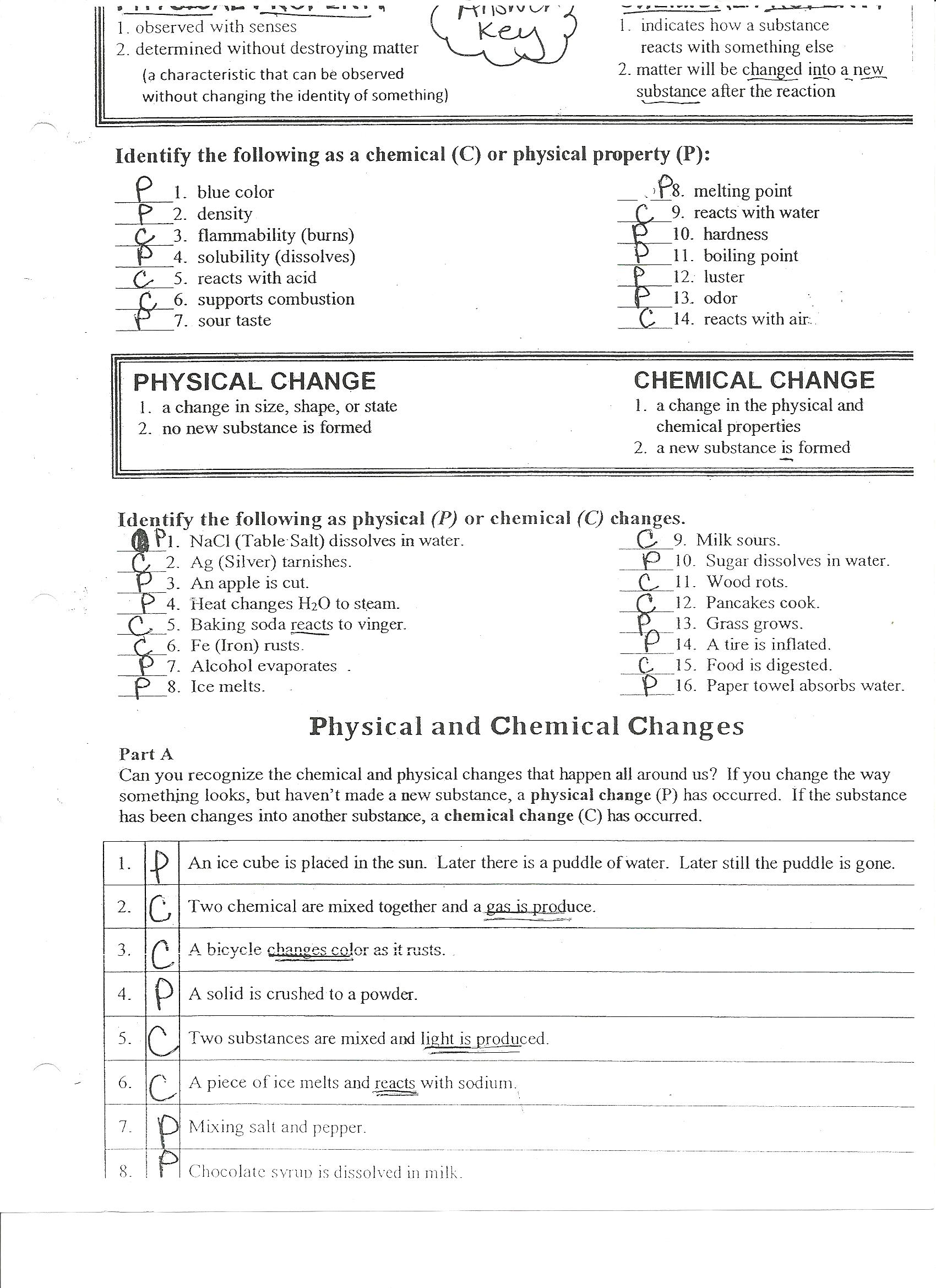 Worksheets Physical And Chemical Properties Worksheet 6th Grade cherry marcie science resources physicalchemical worksheet side 1